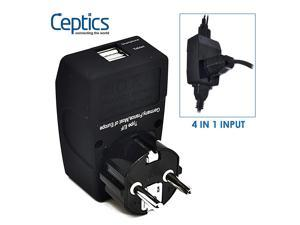 Ceptics 2 USB Europe, Germany, France Schuko Travel Adapter 4 in 1 Power Plug (Type E/F), Universal Socket accepts Plugs from any country, Perfect for Cell Phones, Laptops, Chargers & More (GP4-9)