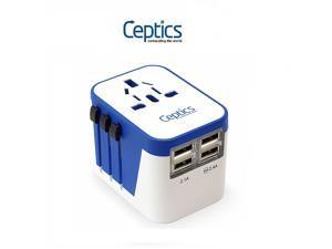 Ceptics Travel Adapter Plug World Power W/ 4 USB Ports - Charge Cell Phones, Smart Watches, iPhones All over the World - For International Europe, China, UK, UAE, Australia - Type A, C, G, I (UP-9KU)