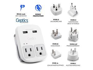 Ceptics World Travel Adapter Kit  - Dual USB + 2 US Outlets, Surge Protection, Plugs for Europe, UK, China, Australia, Japan - Perfect for Laptop, Cell Phones, Cameras - Safe ETL Tested (WPS-2B+)