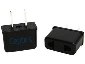 Ceptics Plug Adapter For Use In Europe and Asia to USA  - 6 Pack