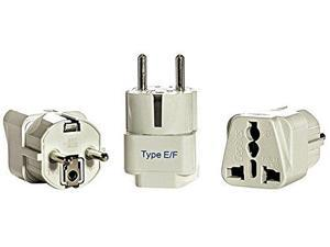 Ceptics Type E or F Grounded Universal Plug Adapter for Europe, Germany, France (Schuko) - 3 Pack
