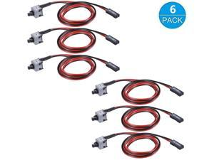 6PCS PC Motherboard Computer PC Protective 2-Pin SW Computer Switch Cord, Switch Power Cord with On Off Button