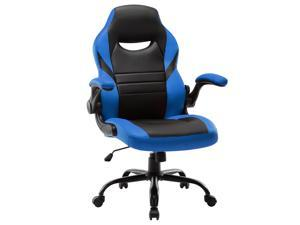 Executive Gaming Chair Racing Computer Office Desk Chair, 360°Swivel Flip-up Arms Ergonomic Design for Lumbar Support