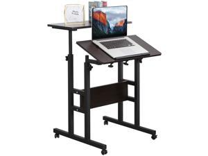 2-Tier Mobile Standing Desk Height Adjustable Home Office Workstation Ergonomic Sit-To-Stand Table