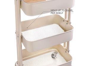 Movable Storage Utility Rolling Cart End Table