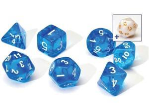 7ct Dice Set Transparent Resin Blue & White Role Playing Table Top Sirius
