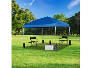 10'x10' Blue Pop Up Event Straight Leg Canopy Tent with Sandbags and Wheeled Case