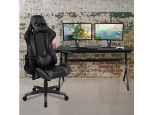 Gaming Desk and Gray/Black Reclining Gaming Chair Set /Cup Holder/Headphone Hook/Removable Mouse Pad Top - Wire Management
