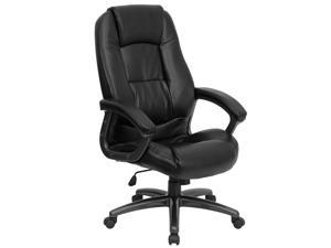 Peachy High Back Black Leather Executive Swivel Chair With Lumbar Pillow And Arms Pdpeps Interior Chair Design Pdpepsorg
