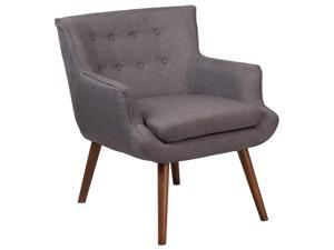 HERCULES Hayes Series Gray Fabric Tufted Arm Chair