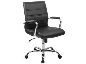 Mid-Back Black Leather Executive Swivel Chair with Chrome Base and Arms