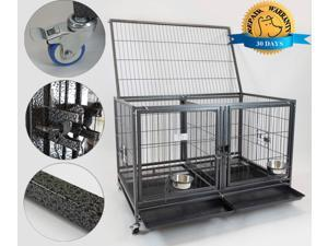 """43"""" Stackable Heavy Duty Cage w/ Feeding Doors and Divider"""
