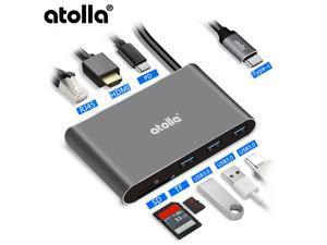 Atolla 8-in-1 USB C HDMI Hub and Ethernet- USB C hub Type C Hub- LAN port | 3 * USB3.0 port | 4K HDMI output | PD| SD card / Micro SD card reader