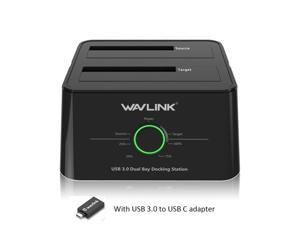 """Wavlink USB  3.0 To USB C SATA Dual Bay External Hard Drive Enclosure for 2.5"""" & 3.5"""" HDD with UASP (6Gbps) SSD Enclosure 12V 3A Power Adapter [Support 2x 8TB]  Duplicator/Clone and One Button Backup"""