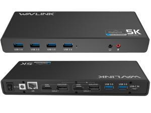 Universal 5K USB Laptop Docking Station,For Both USB C/A, USB 3.0 4K@60Hz Dual Video Docking Station 2 X HDMI, 2 x DisplayPort, Gigabit Ethernet, 6 x USB 3.0, Audio, Mic, For Windows & Mac