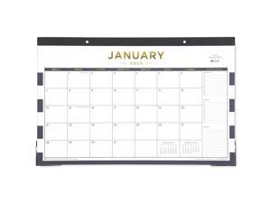 "Day Designer for Blue Sky ""Navy Stripe"" 17 x 11 Monthly Desk Pad Calendar, January 2018 to December 2018"