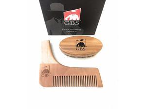 2 Piece set- All In One Beard Styling and Shaping Template By GBS with Oval Boar Bristle Beard Brush