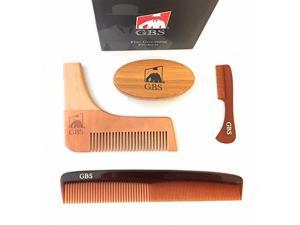 """GBS 4 Piece Set - Premium Oval Wood Beard Brush with Boar Bristles, All-In-One Styling & template comb with 7"""" Tortoise Dressing comb and Mustache comb"""