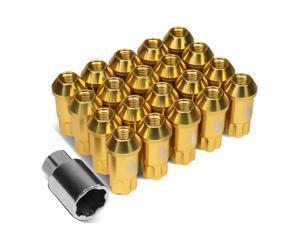 J2 Engineering 7075 -T6 Forged Aluminum M12X1.5 20Pcs 50mm Height Open -End Lug Nut Set w / Key (Gold)