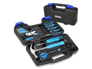 DNA MOTORING Blue 39 PCs Portable TooL Kit Household Hand Toolbox General Repair Screwdriver Pliers Hammer Hex