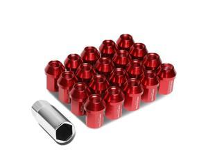 20Pcs Red M12X1.5 25mmx35mm Aluminum Closed-End Lug Nuts+Deep Drive Extension Adapter