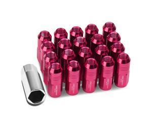 20Pcs Pink M12X1.5 20Mmx50Mm Aluminum Closed-End Lug Nuts+Deep Drive Extension Adapter