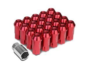 DNA Motoring LN-ZTL-9024-125-RD Open Ended Style 20-Piece M12 x 1.25 Aluminum Alloy Wheel Lug Nuts +1 X Deep Drive Extension (Red)