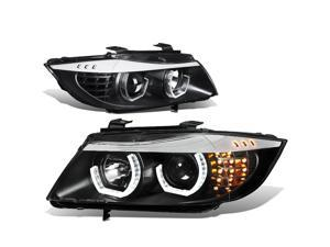 For 2005 to 2008 BMW E90 3-Series 3D LED Halo Projector HeadLight Black Housing Amber Corner Headlamp 06 07 06 07 Sedan 330XI 335XI