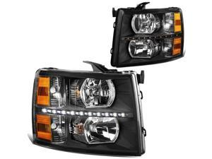 DNA Motoring HL-LED-CSIL07-BK-AM For 2007 to 2014 Chevy Silverado 1500 2500 3500 LED DRL Strip Headlight Black Housing Amber Corner Headlamp 08 09 10 11 12 13 Left + Right