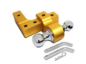 "Aluminum 6""Drop Adjustable Dual Ball Tow Towing Hitch fits 2"" Trailer Receiver (Gold)"