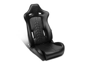 NRG Innovations RSC-810BK The Arrow Series Pressed Logo PVC Fully Reclinable Sport Racing Seat w/Slider Left/Driver Side