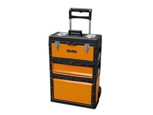 DNA MOTORING Orange/Black 3-Tier Stackable Storage Tool Box Rolling Extendable Handle Trolley 49cm W X 63.3cm H X 23cm