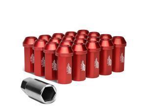 J2 Engineering LN-T7-005-125-RD J2 Engineering 7075 -T6 Forged Aluminum M12 x 1.25 20Pcs 50mm Close -End Lug Nut w/ Socket Adapter ( Red )