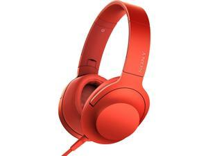 Sony MDR-100AAP h.ear on High-Resolution Dynamic Stereo Headphones w/ Inline Mic (Cinnabar Red)