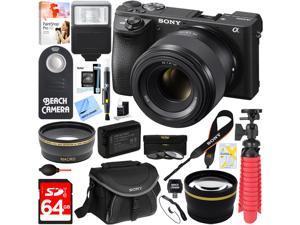 Sony ILCE-6500 a6500 4K Mirrorless Camera Body w/ 50mm F1.8 Lens 64GB Bundle