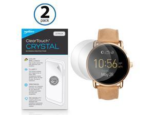 Fossil Q Wander Screen Protector, BoxWave [ClearTouch Crystal (2-Pack)] HD Film Skin - Shields From Scratches for Fossil Q Wander, Marshal