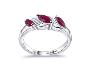 0.81 Ctw Marquise Red Ruby 925 Sterling Silver Engagement Ring For Women