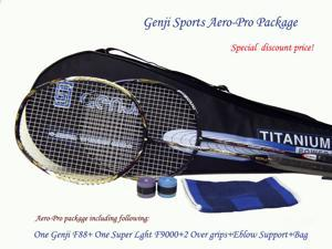 Genji Sports Aero-PRO Package [F88 and F-9000 rackets/2 over grips/Elbow supports/bag]