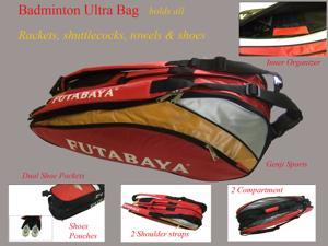 """Genji Sports Futubaya Professional Badminton Ultra Bag, holds up to 12 + badminton rackets, shuttlecocks , shoes and all other accessories that you need for the game.Bag dimensions: 31""""x15""""x1"""" (LxHxW)"""