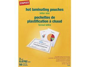 Staples 3 mil Thermal Laminating Pouches, Letter Size, 50 pack