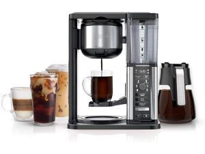 Ninja CM401 Specialty Fold-Away Frother Coffee Maker, Single Serve to 10 Cup (50 oz.), Glass Carafe