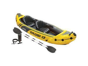 INTEX 2 Person Explorer K2 Inflatable Kayak w/ Aluminum Oars & Air Pump