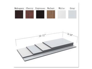 Reversible Laminate Table Top, Rectangular, 47 5/8w x 23 5/8d, White/Gray