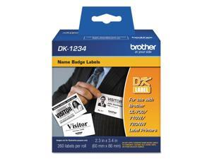 "Brother DK1234 Brother Name Badge Label - 2.36"" Width x 3.39"" Length - Rectangle - Direct Thermal - White - Paper - 260 Label"