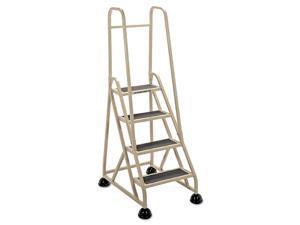 "4-Step Ladder, w/ 2 Handrails, 24-5/8""x33-1/2""x66"", Beige, Sold as 1 Each"