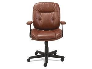 OIF - OIFST4859 - Swivel/Tilt Leather Task Chair, Fixed T-Bar Arms, Chestnut Brown