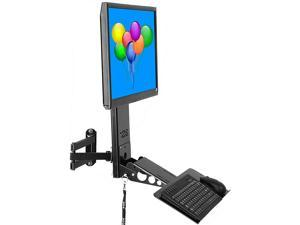 SDS iMount 4.0 Adjustable VESA Monitor & Keyboard Wall Mount System with Tilt & Fold-up, Black, Workstation, Small Foot Print, 100mm & 75mm VESA, Arm Included, 26 inch Tray