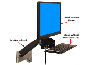 "SDS iMount 4.0 Keyboard & Monitor Mount w/ Tilt, Fold Away Adjustable Tray System 7"" x 18"" tray(Mounts Directly To The Wall)"