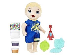 Baby Alive Super Snacks Snackin' Luke Blonde Feed Change Diaper Doll Toy Hasbro