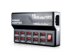axGear USB AC Charger 10 Port USB Wall Charging Power Adapter 5V 12A Fast Travel Home Charging Station